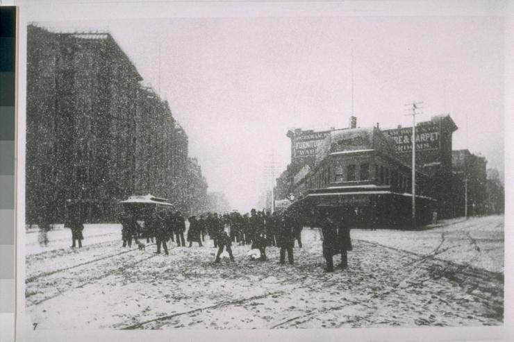 New Year's Eve, 1882 @ Market & Montgomery Streets (Palace Hotel @ left)