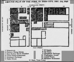 "Ground Plan of the Fire from the Daily Alta California, note ""13 Store, Victor Leroy."""