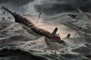 1857 painting of the sinking of the Central America by J. Childs. Albert Priest was aboard the ship and rescued by the barque Ellen.