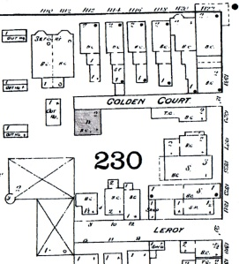 The shaded square is the Golden's house, cropped from an 1886 Sanborn Insurance Map.