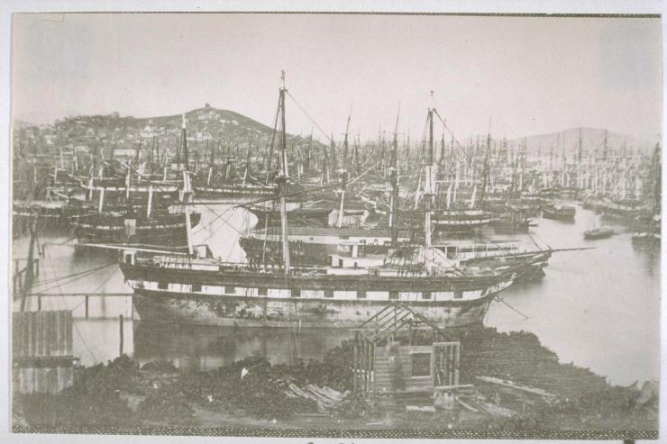 Ships in Yerba Buena Cove, circa 1851.