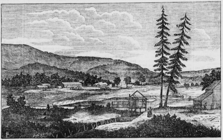 Sketch of Sutter's Mill done using painting by Charles Nahl which was based on a sketch from 1851.