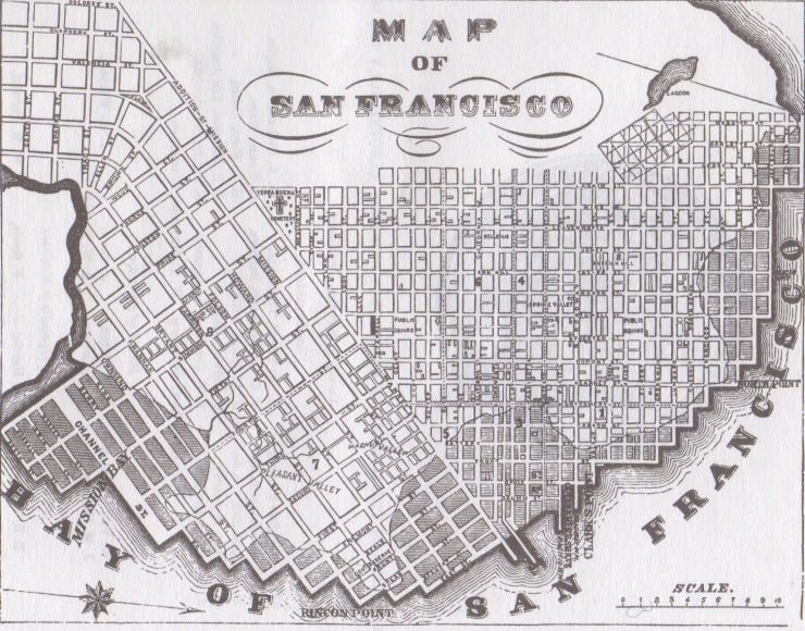Post-gold rush San Francisco circa 1854: note Pleasant Valley at bottom left, west of Rincon Point, around Harrison and 2nd streets.