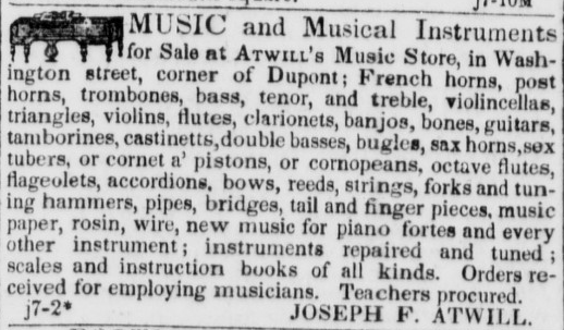 Atwill & Co. advertisement from January 1850 Daily Alta.
