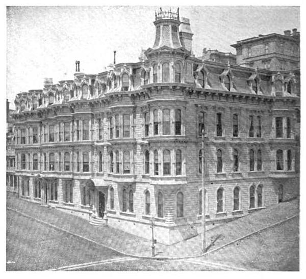The Beresford Hotel at the NW corner of Bush and Stockton streets in 1902. Per Ulrich's description, I'm pretty sure that's the old 608 Stockton at the far left.